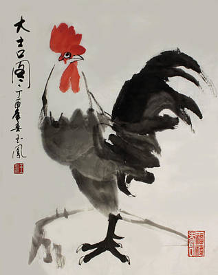 Painting - Lucky Rooster by Yufeng Wang
