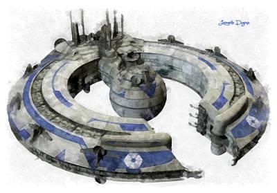 Outer Space Painting - Lucrehulk Battleship by Leonardo Digenio