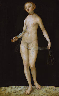 Black Background Painting - Lucretia by Lucas the elder Cranach