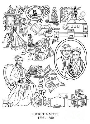 Quaker Drawing - Lucretia Mott by Barbara Schneider