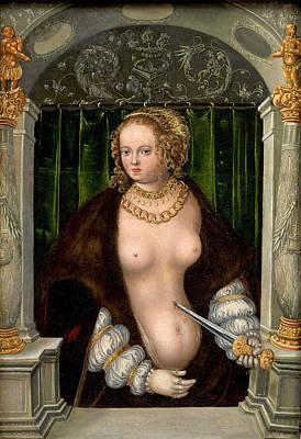 Painting - Lucretia's Suicide by Workshop of Lucas Cranach the Elder