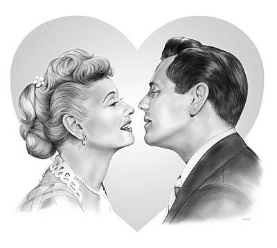 Drawing - Lucy And Desi by Greg Joens