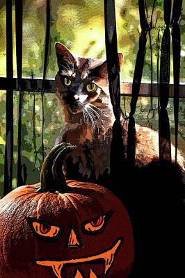 Pumpkin Art Card Mixed Media - Lucy Boo by Lesa Fine