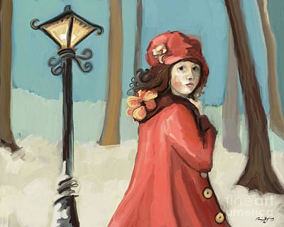 Archetype Painting - Girl In The Snow by Carrie Joy Byrnes