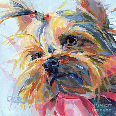 Yorkshire Terrier Wall Art - Painting - Lucy In The Sky by Kimberly Santini
