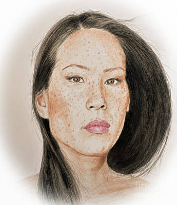 Drawing - Lucy Liu Freckled Beauty I by Jim Fitzpatrick