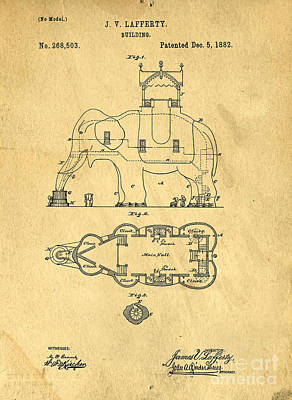 Moulin Photograph - Lucy The Elephant Building Patent 2 by Edward Fielding