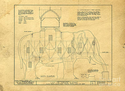 Animals Photos - Lucy the Elephant Building Patent Blueprint  by Edward Fielding