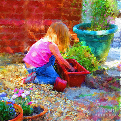 Lucys English Garden Art Print by Marilyn Sholin