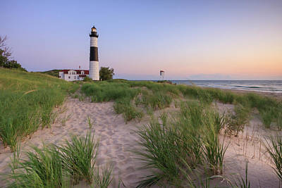 Full Moon Photograph - Ludington Beach And Big Sable Point Lighthouse by Adam Romanowicz