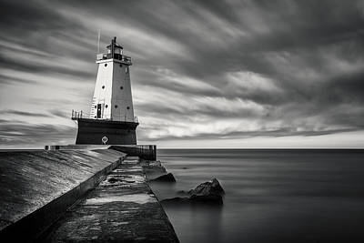 Print featuring the photograph Ludington Light Black And White by Adam Romanowicz