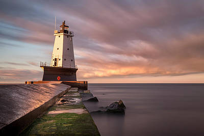 Coastal Photograph - Ludington Light Sunrise Long Exposure by Adam Romanowicz