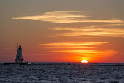 Coastal Photograph - Ludington North Breakwater Light At Sunset by Adam Romanowicz