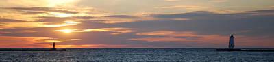 Lighthouse Photograph - Ludington Sunset Panorama by Twenty Two North Photography