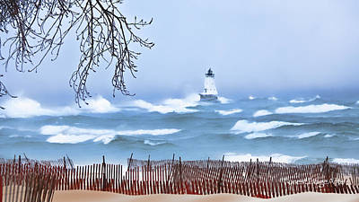 Ludington Winter Shore  Art Print