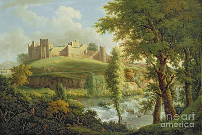 Castle Painting - Ludlow Castle With Dinham Weir by Samuel Scott