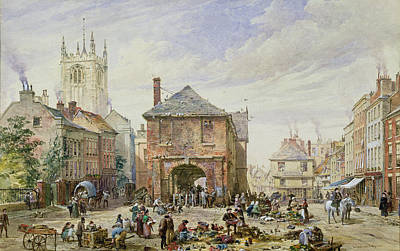 Village Scene Painting - Ludlow by Louise J Rayner
