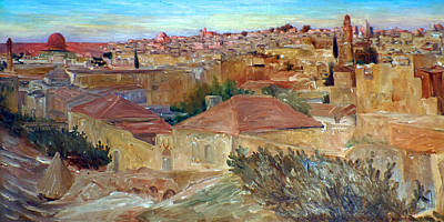 Painting - Ludwig Blum Old Jerusalem 1923 by Munir Alawi
