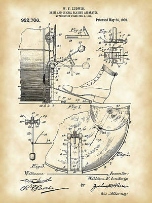 Drumstick Digital Art - Ludwig Drum And Cymbal Foot Pedal Patent 1909 - Vintage by Stephen Younts
