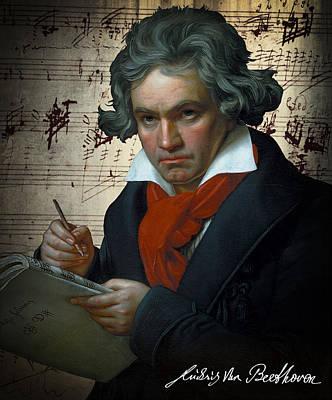 Moonlight Sonata Digital Art - Ludwig Van Beethoven 1820 by Daniel Hagerman