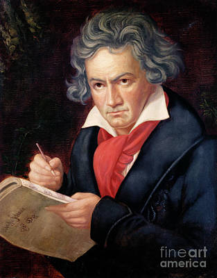 Pencil Painting - Ludwig Van Beethoven Composing His Missa Solemnis by Joseph Carl Stieler