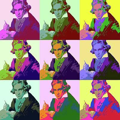 Digital Art - Ludwig Van Beethoven Pop Art by Matthew Lacey