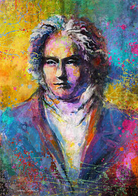Symphony Painting - Ludwig Van Beethoven Portrait Musical Pop Art Painting Print by Svetlana Novikova
