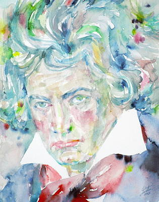 Painting - Ludwig Van Beethoven - Watercolor Portrait by Fabrizio Cassetta