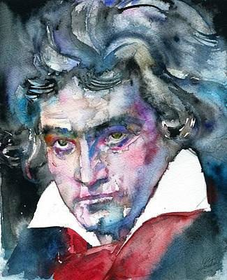 Painting - Ludwig Van Beethoven - Watercolor Portrait.2 by Fabrizio Cassetta