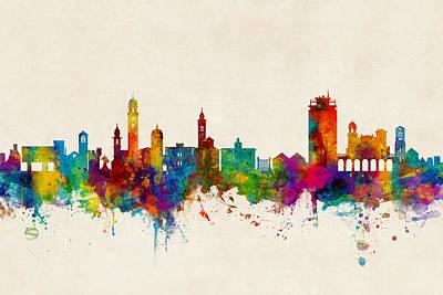 Lugano Switzerland Skyline Art Print
