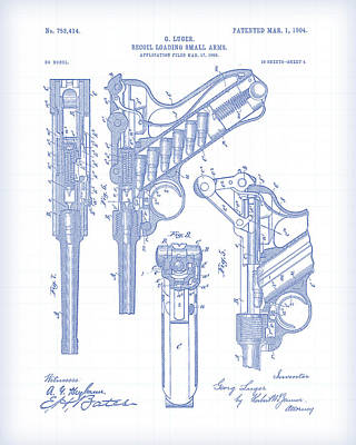 Digital Art - Lugar Gun Patent  by Gary Grayson
