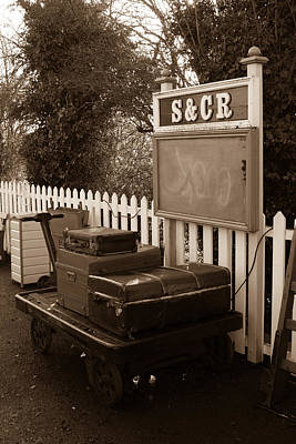 Luggage At Blunsdon Station Print by Steven Sexton