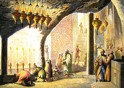 Painting - Luigi Mayer Nativity Grotto 1812 by Munir Alawi