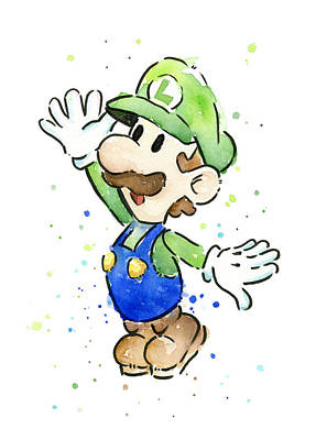 Fan Art Painting - Luigi Watercolor by Olga Shvartsur