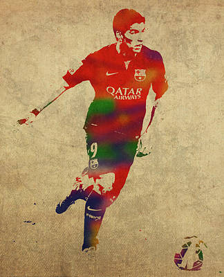 Luis Mixed Media - Luis Suarez Watercolor Portrait by Design Turnpike