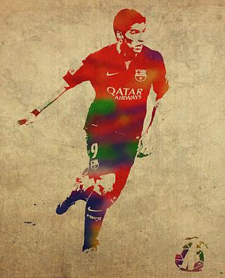 Soccer Mixed Media - Luis Suarez Watercolor Portrait by Design Turnpike