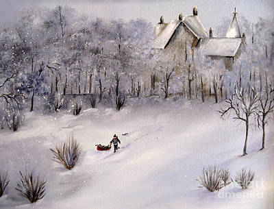 Painting - Lukas Fetching Wood by Carol Sweetwood