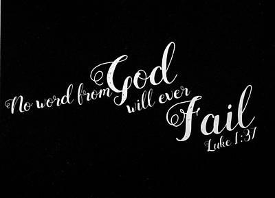 Photograph - Luke 1 37 Scripture Verses Bible Art by Reid Callaway