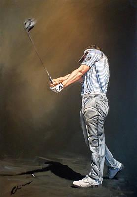 Luke Donald Painting - Luke Donald 2012 D P World Tour Championship by Mark Robinson