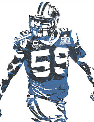 Panther Mixed Media - Luke Kuechly Carolina Panthers Pixel Art 5 by Joe Hamilton