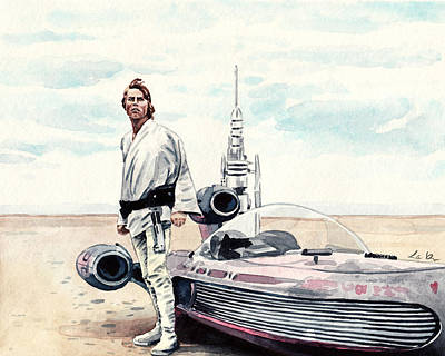 R2d2 Painting - Luke Skywalker On Tatooine Star Wars A New Hope by Laura Row
