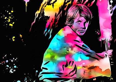 Luke Skywalker Paint Splatter Art Print by Dan Sproul