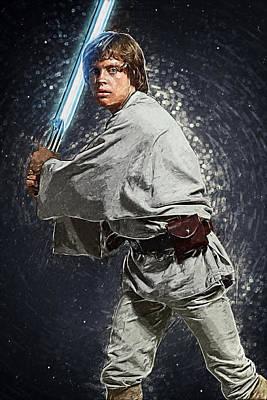 R2-d2 Digital Art - Luke Skywalker by Taylan Apukovska