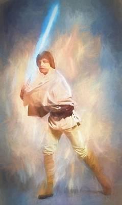 Science Fiction Mixed Media - Luke Skywalker Watercolor by Dan Sproul