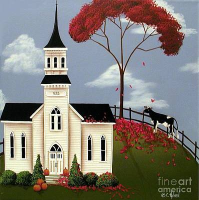 Village Church Painting - Lulabelle Goes To Church by Catherine Holman
