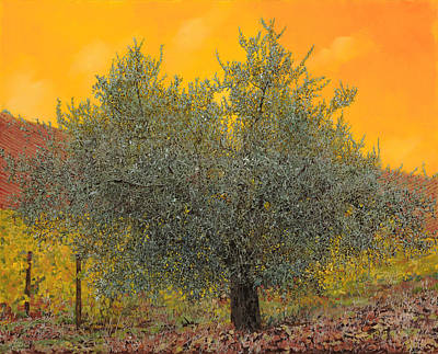 Nature Oil Painting - L'ulivo Tra Le Vigne by Guido Borelli