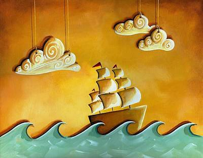 Ship Painting - Lullaby Bay by Cindy Thornton