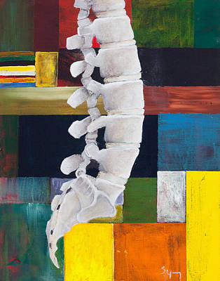 Bone Painting - Lumbar Spine by Sara Young