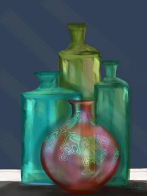 Painting - Luminescent Bottles by Christine Fournier