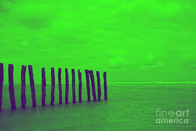 Luminous Beach Greenish Art Print by  Fotoping